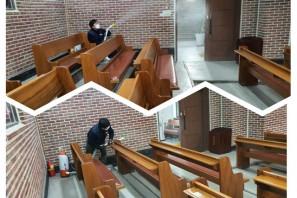 코로나19 바이러스 예방을 위한 3번째 교회 소독